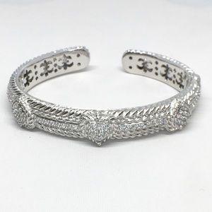 Judith Ripka Sterling Silver 3 Heart Cuff Bracelet